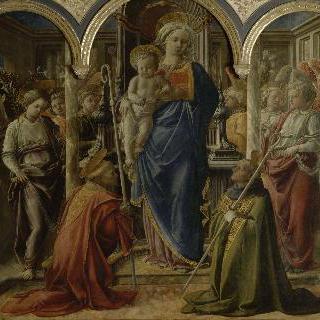 천사와 성자들에게 둘러 싸인 성모와 아기 예수