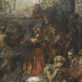 늪에서 목을 축이는 아르벨 전투 후에 피신하는 다리우스