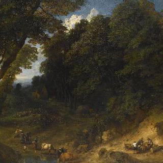 나무꾼이 있는 숲기슭
