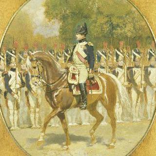 근위대 정예병들 사이를 지나가는 나폴레옹