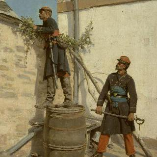 파리 점령의 일화, 전초전에 나서는 보병대 대위와 부관