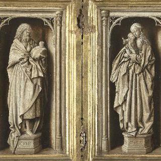 왼쪽 면: 세례요한, 오른쪽 면 : 성 모자상 (단색 이폭화 앞면)