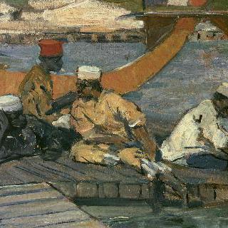 부둣가에서 쉬고 있는 식민지 주군 군인들