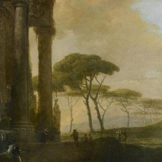 만돌린 연주자가 있는 이탈리아의 풍경