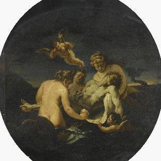 남자의 시체를 들고 있는 네레이데스