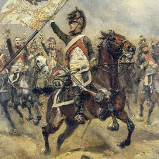 프러시아의 군기를 들고 있는 제 4의 용기병 병사