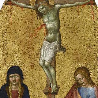 십자가에 못박힌 예수와 같이 있는 성자 프란체스코와 성자 기
