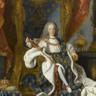 왕실 복장을 하고 왕좌에 앉아 있는 9살의 프랑스왕 루이 15세