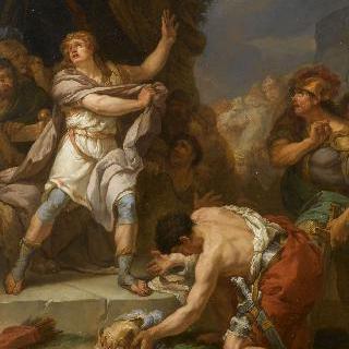 사울의 사망 소식에 전령을 죽이는 다비드