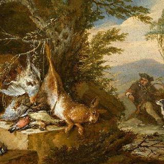 나무 근처 사냥감과 나팔을 부는 사냥꾼