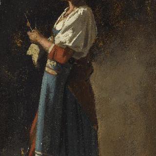 서서 뜨개질을 하는 이탈리아 여인