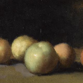 사과, 배, 복숭아가 있는 정물