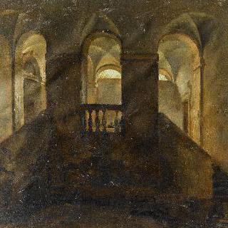 수도원 내부의 계단이 있는 전경