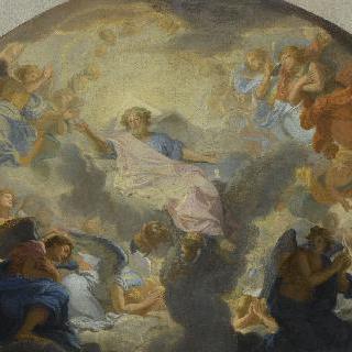 천사들의 경배를 받는 하나님 아버지