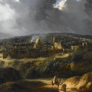 요사팟 골짜기에서 바라본 예루살렘의 전경 이미지
