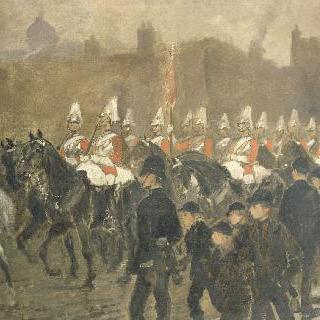 세인트 제임스 궁전앞에서 행진하는 영국 근위 기병