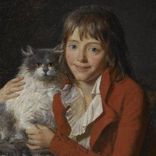 화가이자 선원인 앙브루아즈 루이 가르네레, 앙고라 고양이를 안고있는 소년
