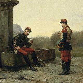 장교에게 보고하는 병사
