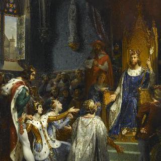 루브르에서 나바르의 왕 샤를 르 모베 2세로부터 항복을 받아낸 장 르 봉 2세