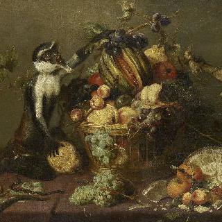 과일 바구니에서 과일을 훔치는 원숭이 두마리