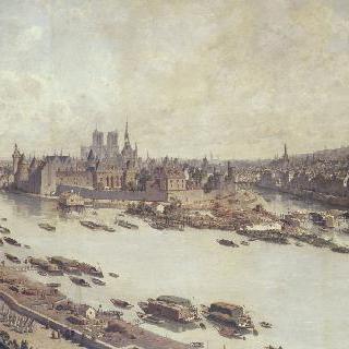 루브르의 지붕에서 바라본, 건축 중은 퐁뇌프가 있는 파리의 전경