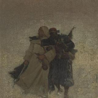 눈 위를 걷고 있는 두 명의 저격수