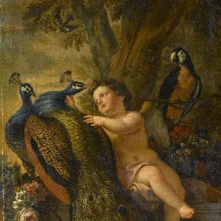 에로스와 공작새 두마리