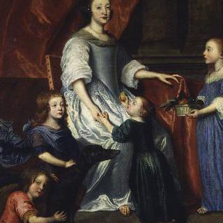 4명의 아이들에게 둘러싸인 앙리에트 드 프랑스의 초상