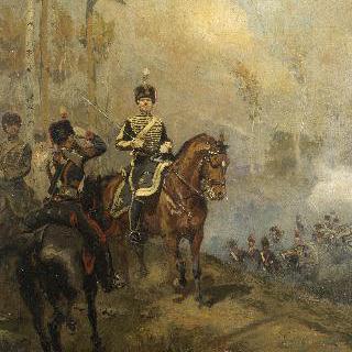 정복을 입고 말을 타는 나폴레옹 근위대의 포병