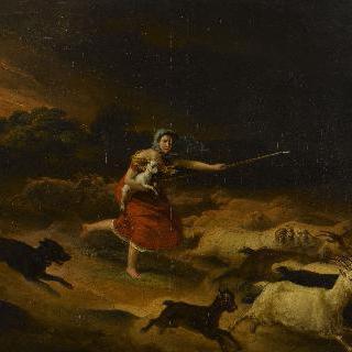 비바람을 피하는 목동과 양떼