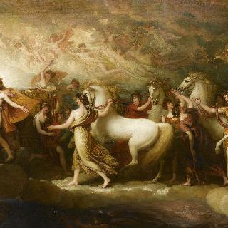 아폴론에게 태양의 지휘권을 간청받는 파에톤