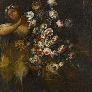 꽃다발을 만드는 소녀