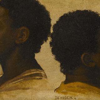 젊은 흑인 두명의 얼굴