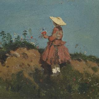 꽃을 모으는 소녀