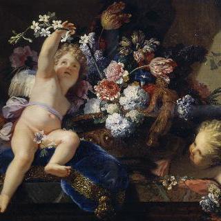꽃을 가지고 놀고 있는 두 명의 아이들
