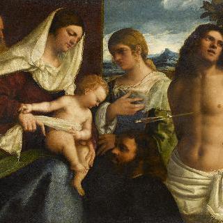 성스러운 대화 (성녀 카타리나, 성 세바스티아누스와 기부자와 함께 있는 성 가족)