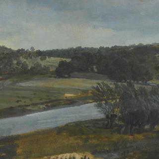 강과 버드나무가 있는 풍경 습작