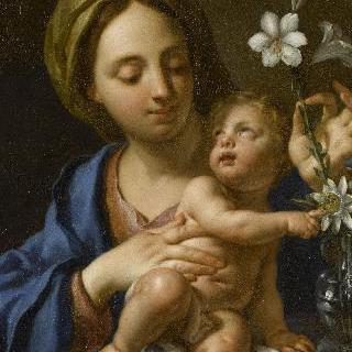 성모에게 정열의 꽃을 보여주는 아기예수