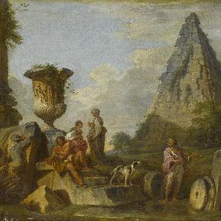 카이우스 세스티우스의 피라미드가 있는 고대 폐허