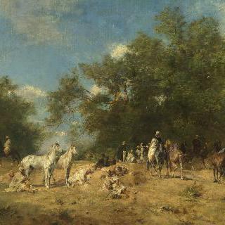 숲안에 있는 아랍 기수들의 휴식처