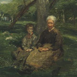 과수원의 부인과 아이