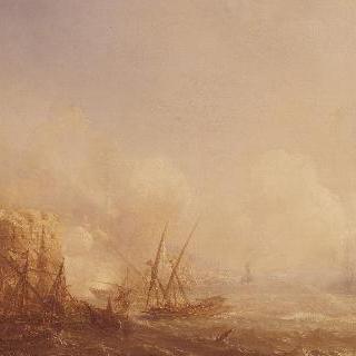 치오지아 전투, 1681년, 트리폴리 해적들과 맞서는 뒤켄의 프랑스 함대