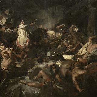 773년 롬바르디아 사람들이 지키는 몽세니시오의 알프스 산을 횡단하는 샤를르마뉴