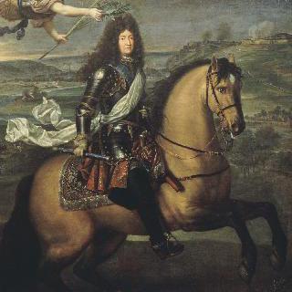 나뮈르 앞에서 승리의 관을 쓰고 있는 말을 탄 루이 14세
