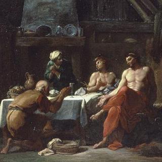 필레몬과 바우키스의 집에 있는 제우스와 메르쿠리우스