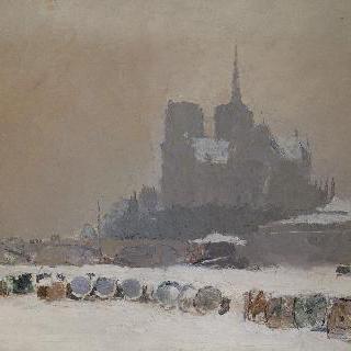 눈 덮인 파리의 노트르담 성당