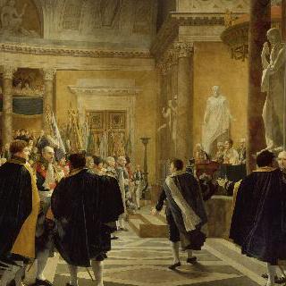 1806년 1월 1일 오스트리아 전장에서 획득한 깃발들을 받는 프랑스 상원