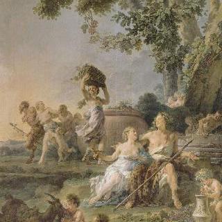 바쿠스의 승리, 포도를 재배하는 농민들