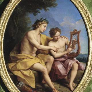 히야신스에게 칠현금 연주를 보여주는 아폴론