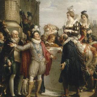마리 드 메디시스 여왕과 쉴리와 동행하는 앙리 4세